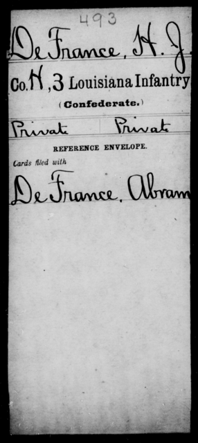 De France, H J - Age [Blank], Year: [Blank] - Third Infantry, C - D - Louisiana