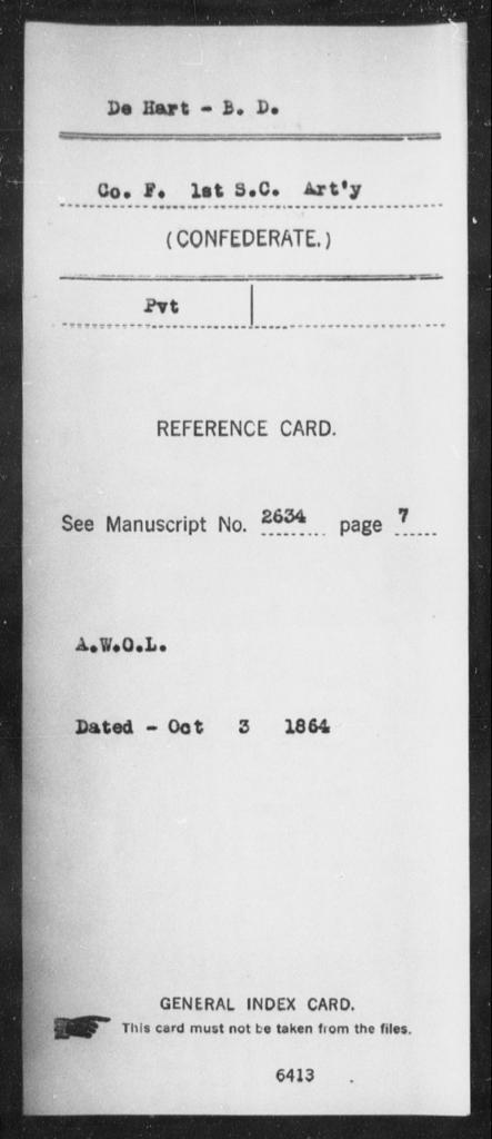 De Hart, B D - Age: [Blank], Year: [BLANK] - South Carolina First Artillery De-Ga