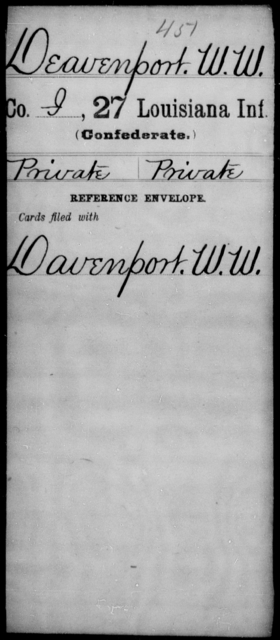 Deavenport, W W - Age [Blank], Year: [Blank] - Twenty-seventh Infantry, Cl - Fi - Louisiana
