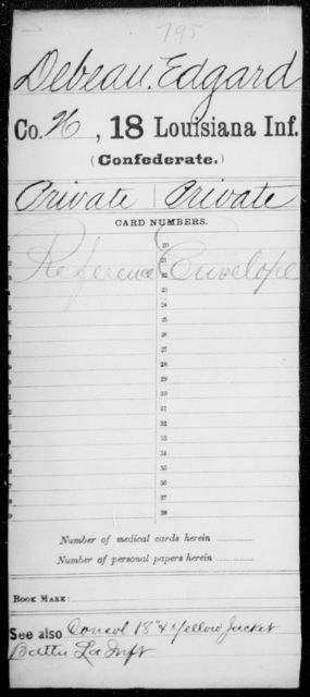 Debeau, Edgard - Age [Blank], Year: 1861 - Eighteenth Infantry, D - F - Louisiana