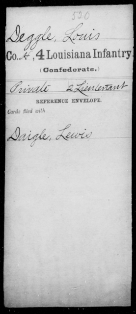 Deggle, Louis - Age [Blank], Year: [Blank] - Third Regiment, First Brigade, First Division, Militia,, A- K - Louisiana