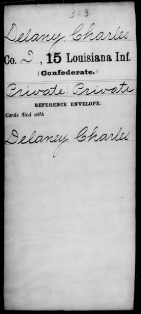 Delany, Charles - Age [Blank], Year: [Blank] - Fifteenth Infantry, Cl - Em - Louisiana