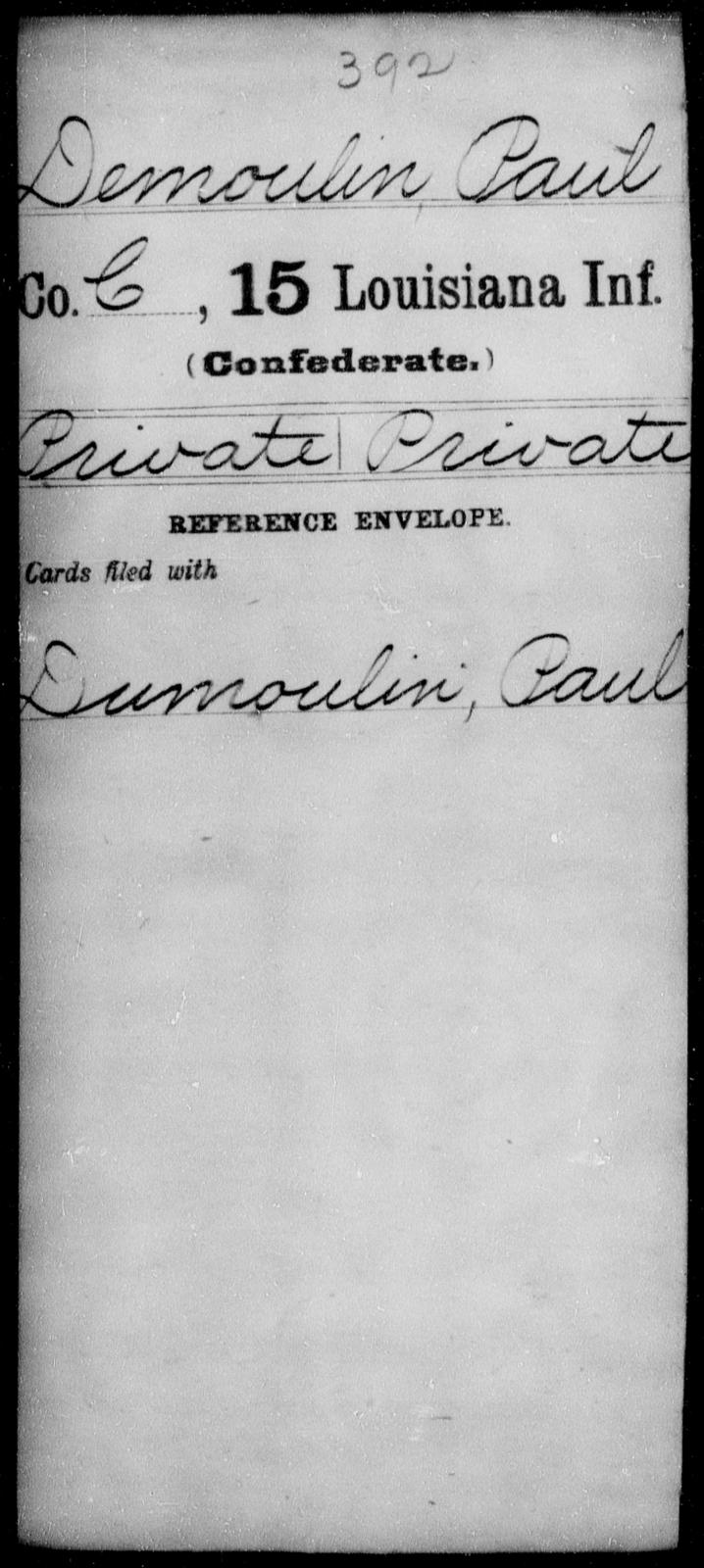 Demoulin, Paul - Age [Blank], Year: [Blank] - Fifteenth Infantry, Cl - Em - Louisiana
