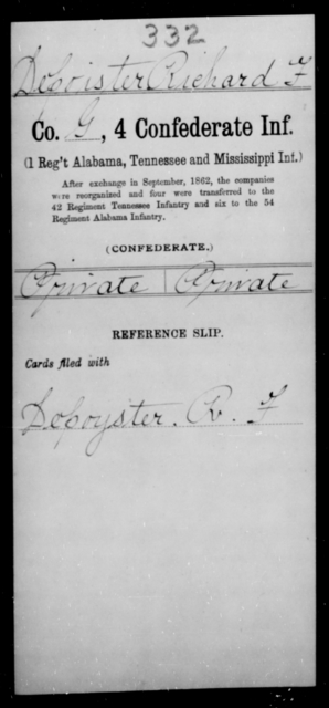 Depointer, Richard F - Age [Blank], Year: [Blank] - Fourth Confederate Infantry, A-F - Raised Directly by the Confederate Government
