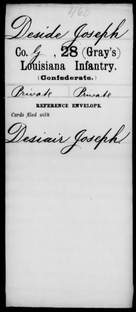 Deside, Joseph - Age [Blank], Year: [Blank] - Twenty-eighth (Gray's) Infantry, Co - G - Louisiana
