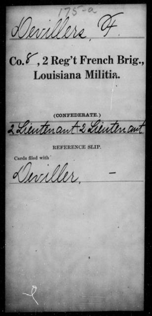 Devillers, F - Age [Blank], Year: [Blank] - Second Regiment, French Brigade, Militia - Louisiana