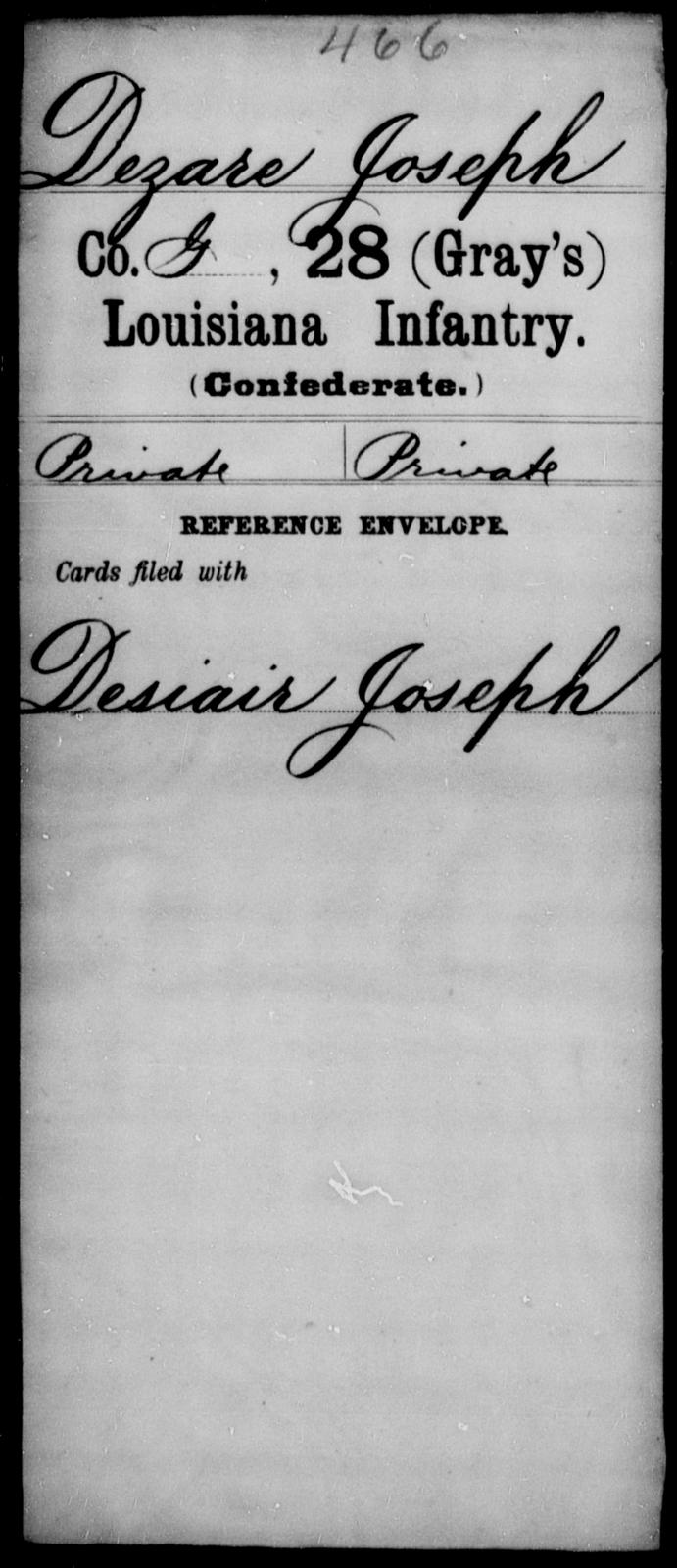 Dezare, Joseph - Age [Blank], Year: [Blank] - Twenty-eighth (Gray's) Infantry, Co - G - Louisiana