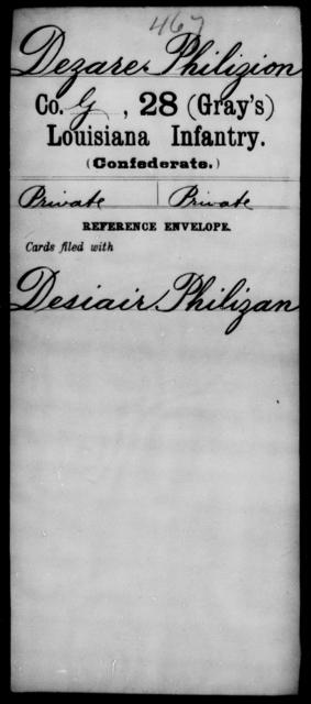 Dezare, Philizion - Age [Blank], Year: [Blank] - Twenty-eighth (Gray's) Infantry, Co - G - Louisiana