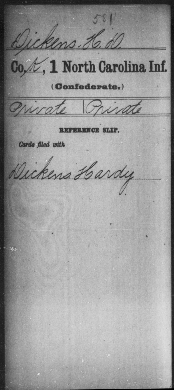 Dickens, H D - First Infantry