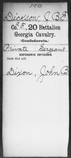 Dickson, J B F - 20th Battalion, Cavalry