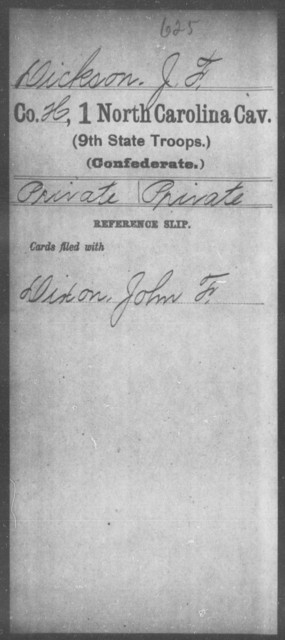 Dickson, J F - First Cavalry (Ninth State Troops)