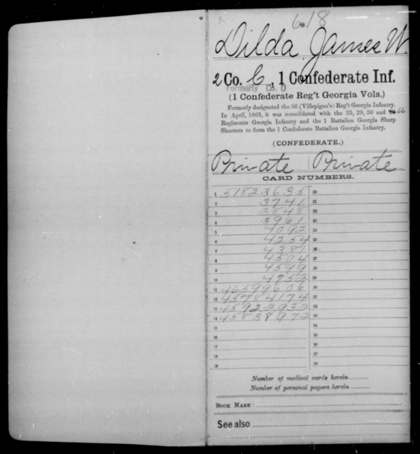 Dilda, James W - Age [Blank], Year: 1862 - First Confederate Infantry, C-E - Raised Directly by the Confederate Government