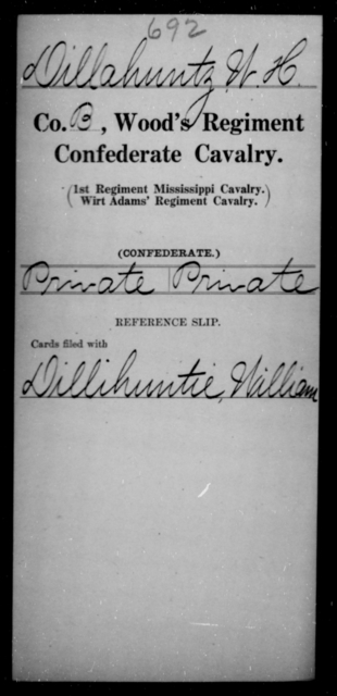 Dillahuntz, W H - Age [Blank], Year: 1865 - Wood's Regiment, Confederate Cavalry, Ce-E - Raised Directly by the Confederate Government