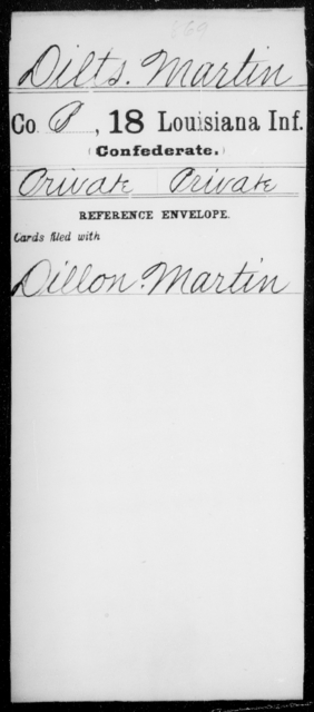 Dilts, Martin - Age [Blank], Year: 1861 - Eighteenth Infantry, D - F - Louisiana