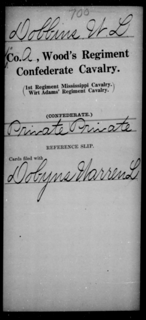 Dobbins, W L - Age [Blank], Year: [Blank] - Wood's Regiment, Confederate Cavalry, Ce-E - Raised Directly by the Confederate Government