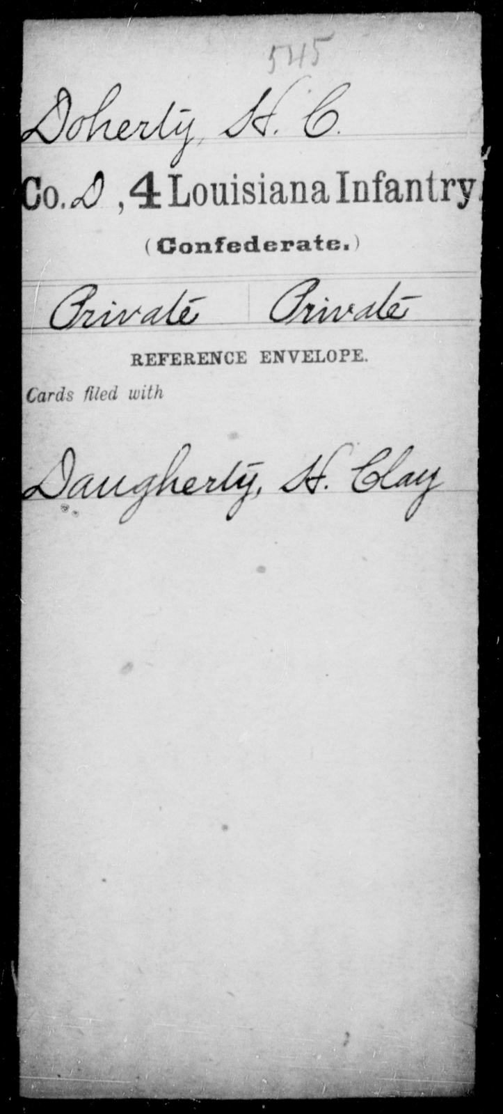 Doherty, H C - Age [Blank], Year: [Blank] - Third Regiment, First Brigade, First Division, Militia,, L - Z - Louisiana