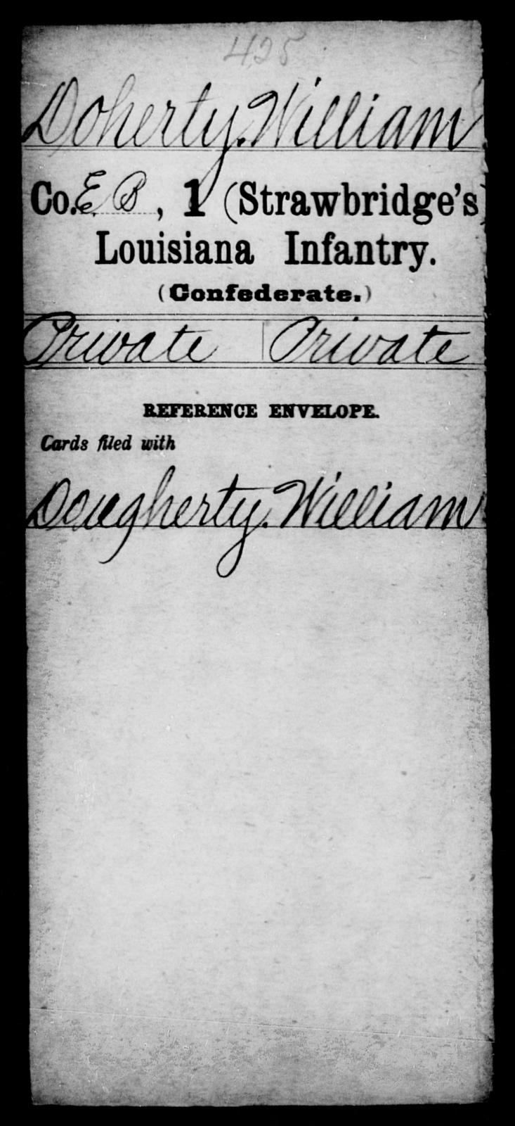 Doherty, William - Age [Blank], Year: [Blank] - First (Strawbridge's) Infantry, C - D - Louisiana