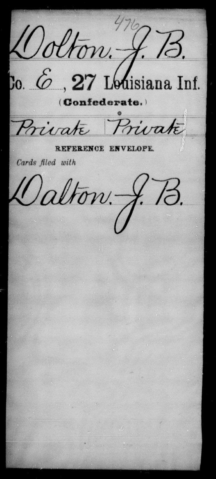 Dolton, J B - Age [Blank], Year: [Blank] - Twenty-seventh Infantry, Cl - Fi - Louisiana