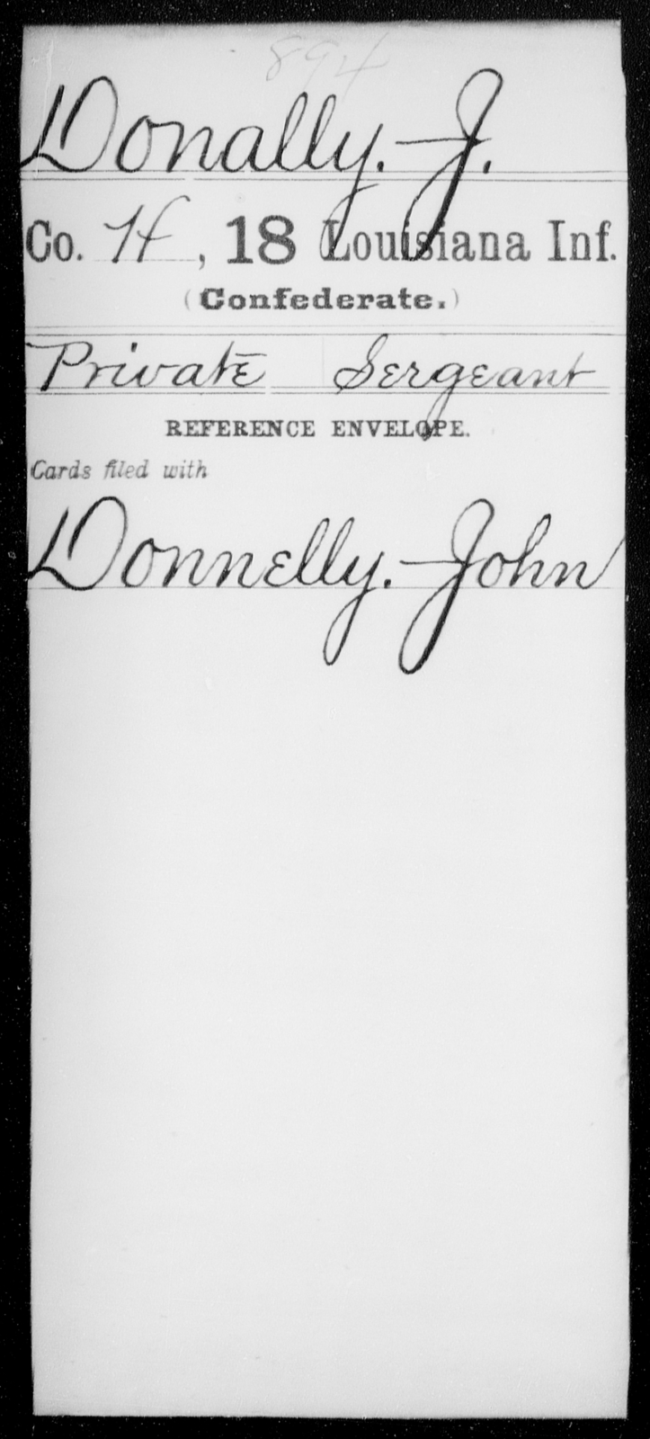 Donally, J - Age [Blank], Year: 1861 - Eighteenth Infantry, D - F - Louisiana