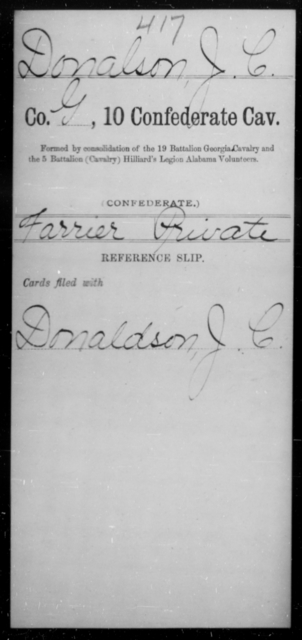 Donalson, J C - Age [Blank], Year: [Blank] - Tenth Confederate Cavalry, A-E - Raised Directly by the Confederate Government