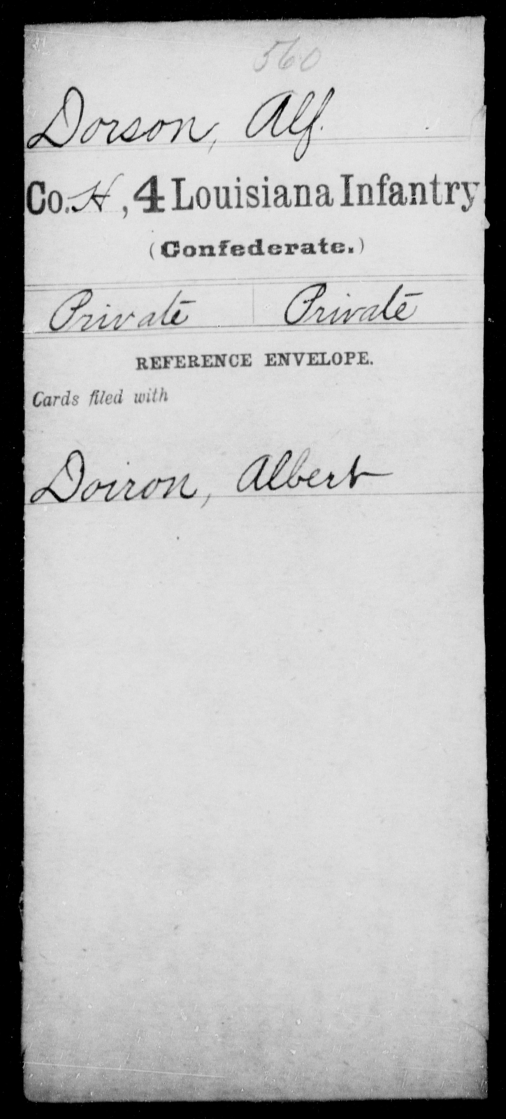Dorson, Alf - Age [Blank], Year: [Blank] - Third Regiment, First Brigade, First Division, Militia,, L - Z - Louisiana