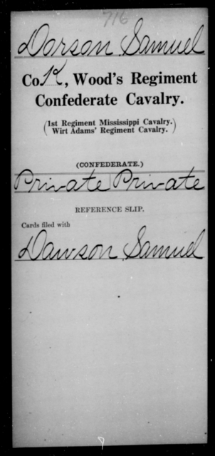 Dorson, Samuel - Age [Blank], Year: [Blank] - Wood's Regiment, Confederate Cavalry, Ce-E - Raised Directly by the Confederate Government