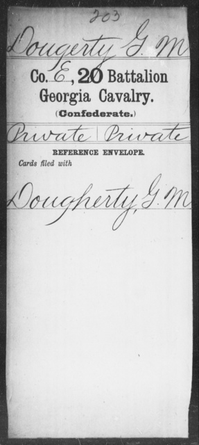 Dougerty, G M - 20th Battalion, Cavalry