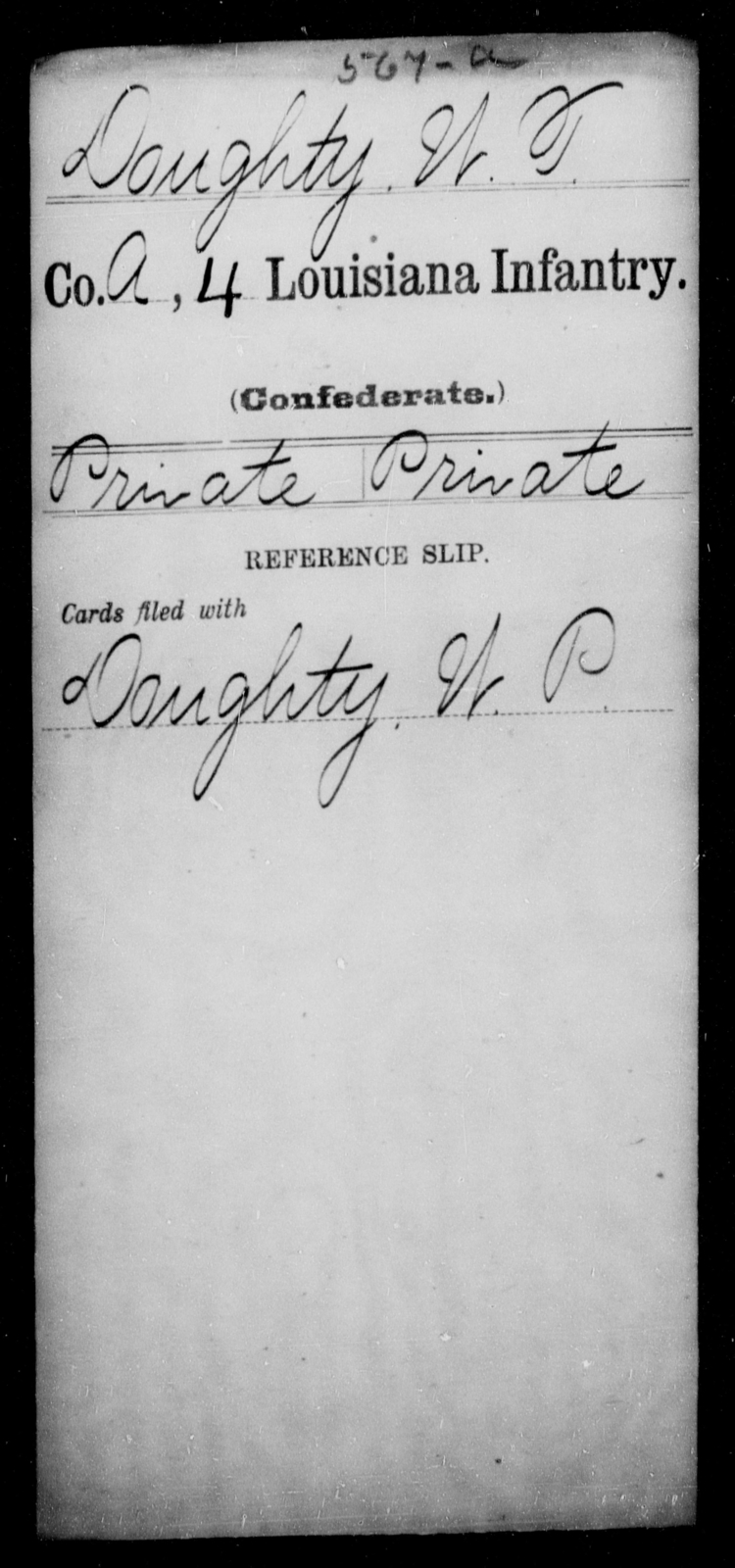Doughty, W T - Age [Blank], Year: [Blank] - Third Regiment, First Brigade, First Division, Militia,, L - Z - Louisiana