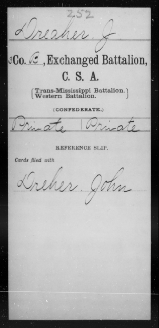 Dreaher, J - Age [Blank], Year: [Blank] - Gillum's Regiment AND Lt. Haskell's Co., Infantry AND Jackson's Co., CSA AND Capt. McDaniel's Co., Secret Service AND Stirman's Regiment, Sharp Shooters AND Tucker's Regiment, Confederate Infantry, A-D - Raised Directly by the Confederate Government