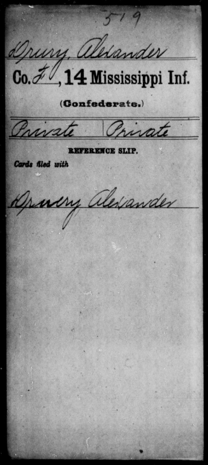 Drury, Alexander - Age: [Blank], Year: [BLANK] - Mississippi Fourteenth Infantry, Ch-E