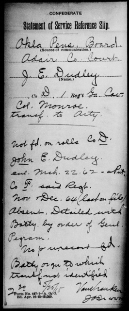 Dudley, J E - 1st Cavalry