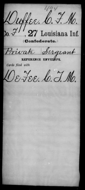Duffee, C F M - Age [Blank], Year: [Blank] - Twenty-seventh Infantry, Cl - Fi - Louisiana