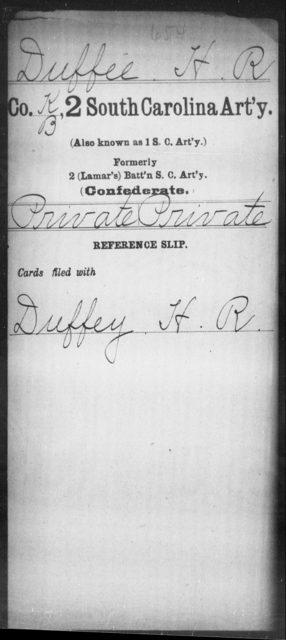 Duffee, H R - Age: [Blank], Year: [BLANK] - South Carolina Second Artillery D-G