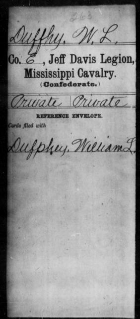 Duffhy, W L - Age: [Blank], Year: 1861 - Mississippi Jeff Davis Legion, Cavalry, Co-F
