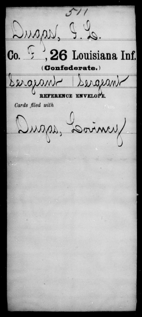 Dugas, I L - Age [Blank], Year: [Blank] - Twenty-sixth Infantry, Ce - Gr - Louisiana