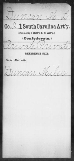 Duncan, M L - Age: [Blank], Year: [BLANK] - South Carolina First Artillery De-Ga