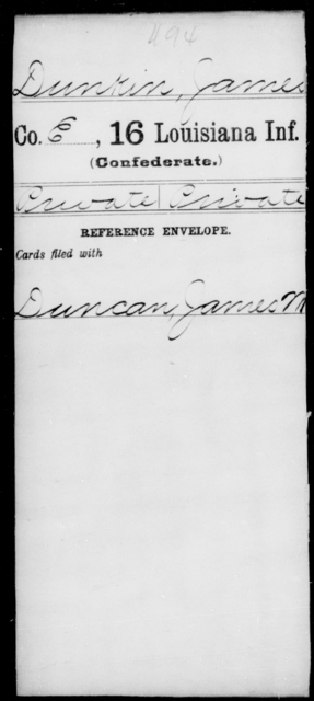 Dunkin, James - Age [Blank], Year: [Blank] - Sixteenth Infantry, Ch - D - Louisiana