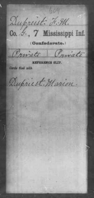 Dupreist, F M - Age: [Blank], Year: [BLANK] - Mississippi Seventh-Infantry, C-E
