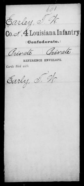 Earley, T W - Age [Blank], Year: [Blank] - Third Regiment, First Brigade, First Division, Militia,, L - Z - Louisiana