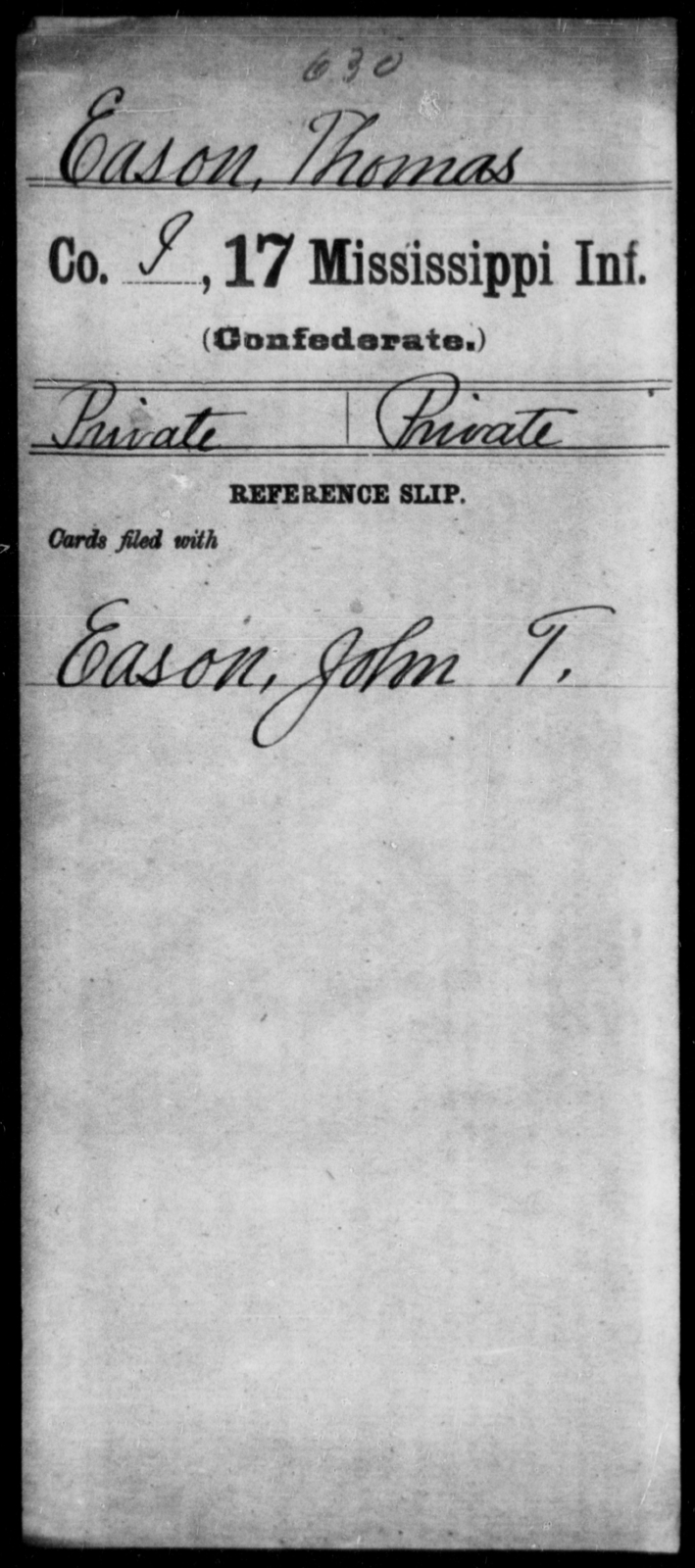 Eason, Thomas - Age: [Blank], Year: [BLANK] - Mississippi Seventeenth Infantry, Di-F