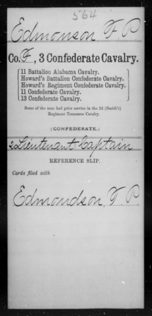 Edmonson, F P - Age [Blank], Year: [Blank] - Third Confederate Cavalry, D-H - Raised Directly by the Confederate Government