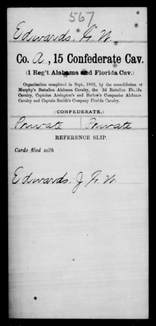 Edwards, G W - Age [Blank], Year: [Blank] - Fifteenth Confederate Cavalry, D-Ha - Raised Directly by the Confederate Government
