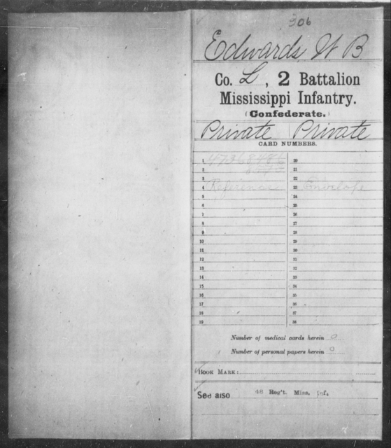 Edwards, W B - Age: [Blank], Year: 1862 - Mississippi Second Battalion, Infantry, A-P