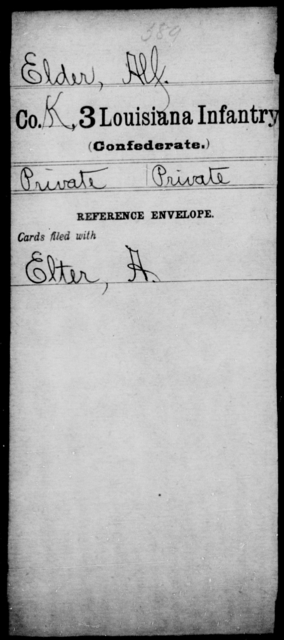 Elder, Alf - Age [Blank], Year: [Blank] - Third Infantry, E - Ha - Louisiana