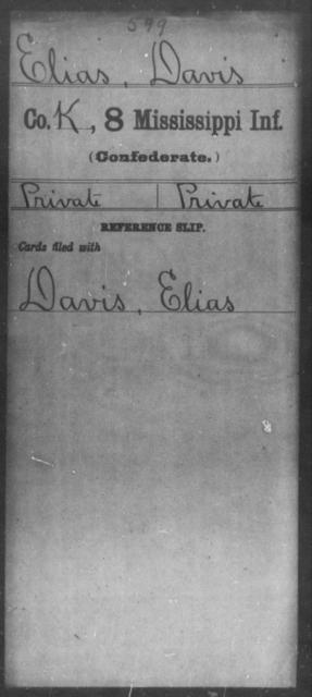 Elias, Davis - Age: [Blank], Year: [BLANK] - Mississippi Eighth-Infantry, Co-F