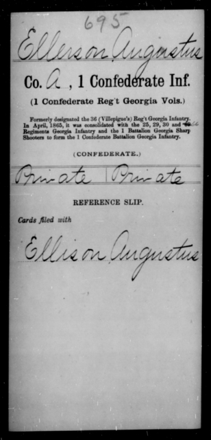 Ellerson, Augustus - Age [Blank], Year: [Blank] - First Confederate Infantry, C-E - Raised Directly by the Confederate Government
