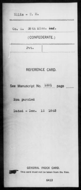 Ellis, T M - Age: [Blank], Year: [BLANK] - Mississippi Thirty-eighth Cavalry, D-H