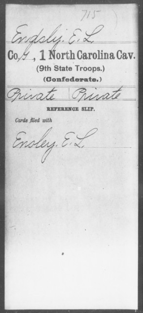 Endsly, E L - First Cavalry (Ninth State Troops)