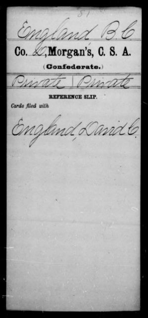 England, B C - Age [Blank], Year: [Blank] - Invalid Corps AND Officers Surnamed Morgan, CSA AND President's Guard, CSA AND Misc. Records - Raised Directly by the Confederate Government