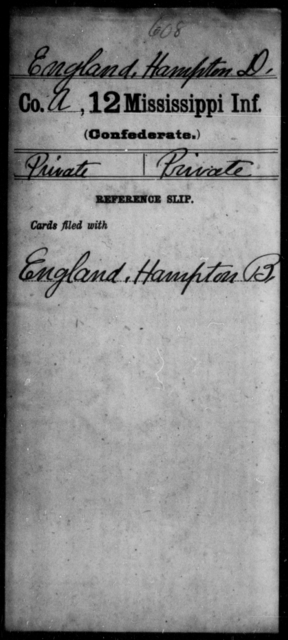 England, Hampton D - Age: [Blank], Year: [BLANK] - Mississippi Twelfth Infantry, D-F